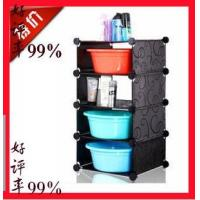 Buy cheap 4 tiers black PP DIY bathroom storage shelf plastic washstand from wholesalers