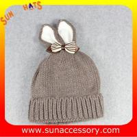 Buy cheap AK17023 Sun Accessory customized baby knitted beanie caps and hats with rabbit ear, ,caps in stock MOQ only 3 pcs from wholesalers