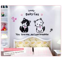 Buy cheap cat sitting room sofa acrylic 3D three-dimensional wall stickers creative cartoon stickers crystal bed children's room from wholesalers