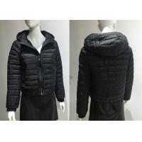 China Warm Short Quilted Bomber Jacket Black Polyester Lightweight Jacket Cotton Wadded Outwear on sale