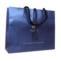 Buy cheap Navy Recycle Paper Cotton Twist Handle Ribbon Cloure Logo Stamped Paper Carrier Bags from wholesalers