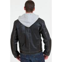 Buy cheap mens shiny purple color leather jacket with knitted hood from wholesalers