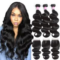 Buy cheap 3 Bundles With Closure Double Weft Virgin Cambodian Hair Extensions Body Wave from wholesalers