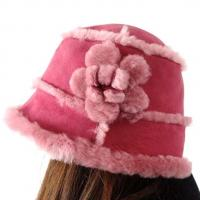 Buy cheap Lamb Fur Ladies Sheepskin Beanie Hat Adult Plain Dyed Pattern OEM / ODM from wholesalers