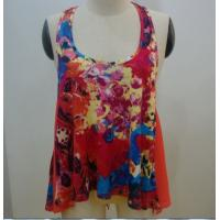 Buy cheap Sexy Race Back Womens Fashion Tops Floral Print Sleeveless T Shirt Knit Fabric Type from wholesalers