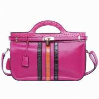 Buy cheap Genuine Cow Leather Handbag For Girl Red Handmade Messenger Bags from wholesalers