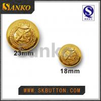 Buy cheap 23mm & 17mm high polished gold military sewing shank buttons in shiny gold color from wholesalers