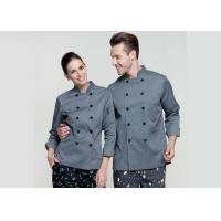 Buy cheap Gray Personalized Custom Work Shirts , Slim Fit Double Breasted Chief Cook Uniform from wholesalers