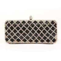 Buy cheap Black Diamond Rhinestone Evening Bags Plaid Pattern And Velvet Lining For Dinner Party from wholesalers