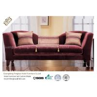 Buy cheap Wine Red Fabric Velvet Hotel Lobby Sofa Three Seat Classical In Fabric Upholstered from wholesalers
