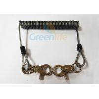 Buy cheap Translucent Black Spring Coil Lanyard , Clip 2PCS Heavy Duty Steel Wire Lanyard from wholesalers