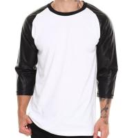 Buy cheap Blank tshirt 3/4 leather sleeves for wholesale t shirt price china from wholesalers