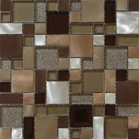 Buy cheap 3D red silver square tile glass mix metal mosaic brush finished from wholesalers