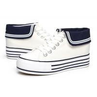 Buy cheap 2014 Fashion Womens High Heeled Platform Sneakers Canvas Shoes White Black High Top Casual Woman Shoes from wholesalers