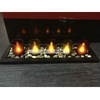 Buy cheap Decorative Glass Votive LED Candles with Wooden Tray and Rock For Holiday Use from wholesalers