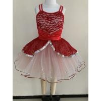 Buy cheap Little Girl Dance Clothes Red Color Custom Made Design About 0.22kg from wholesalers
