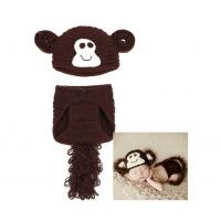 Buy cheap Free Shipping Soft Short Crochet Newborn Baby Photography Props Knitted Monkey Infant Photo Headbands from wholesalers