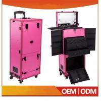 Buy cheap Newest Design Professional Pink Pvc Makeup Trolley Case With Touch Screen Mirror Light from wholesalers