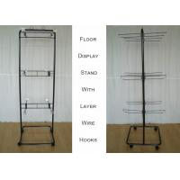 Buy cheap 2 Ways Wire Metal Floor Display Stands With Casters Knock Down Structure from wholesalers