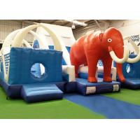 Buy cheap CE, EN14960 Blue And Red Giant Inflatable world elephant Bouncer Slide For KIds from wholesalers