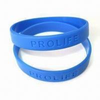 Buy cheap Debossed Bracelet, Made of 100% Silicone, Logo Can be Customized by Printing or Embossing product