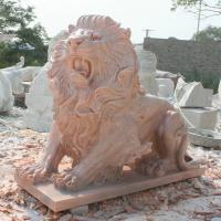 Buy cheap Nature Stone carving lions statue pink marble animal sculpture,stone carving supplier from wholesalers