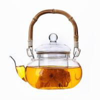 Buy cheap Coffee / Tea Clear Glass Teapot With Bamboo Handle Thermal Shock Protection from wholesalers