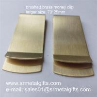 Buy cheap Retro brushed brass money clip wallets, 70x25x1mm thick brass money clips ready mold from wholesalers