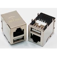 Buy cheap Customized RJ45 Female LAN Connector USB HDMI Port Tab Up 8P8C Through Hole Solder from wholesalers