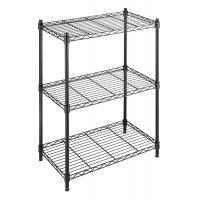 Buy cheap 3 Tier Home Storage Organizer Black Home Wire Shelving Unit On Wheels Adjustable from wholesalers