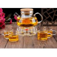 Lightwave Oven Heat Glass Candle Lit Teapot , Coffee Warmer Base Clear Teapot Set
