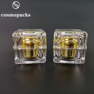 Buy cheap Cube Gold PMMA Acrylic Cosmetic Cream Jars 30g 50g For Serum product