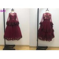 Buy cheap Blossom Inspired Wine Red Childrens Flower Girl Dresses With Long SleeveS Beaded from wholesalers