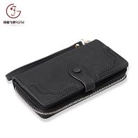 China Hot Fashion PU Leather female clutch card holder wallets women long style purse laser bifold back-pull long wallet on sale