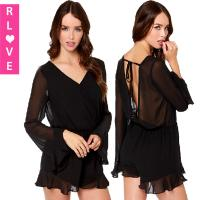Buy cheap Autumn new UK elegant long-sleeved lace flounced piece pants halter sexy shorts jumpsuit from wholesalers