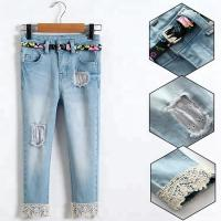 Buy cheap Light Blue Slim Fit Girls Adjustable Waist Jeans Pant With Lace On Hem from wholesalers