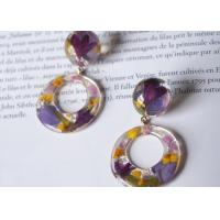 Buy cheap Customized Purple Romance Love Earstud Korea Style Purple Color Earrings Rings With Ball from wholesalers