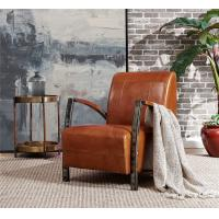 Buy cheap Rustic Top Grain Genuine Leather Leisure Chair Comfortable Cushion Living Room Furniture from wholesalers