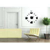 Buy cheap Novelty DIY Black Acrylic Wall Decal Clock Battery Operated Teacup Clocks from wholesalers