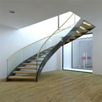 Buy cheap Modern Design Interior curved staircase with tempered glass railing from wholesalers