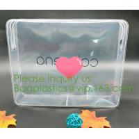 Buy cheap nylon zipper pvc bag Promotional Customize Logo print Transparent PVC plastic clear cosmetic bag with non-woven zipper from wholesalers