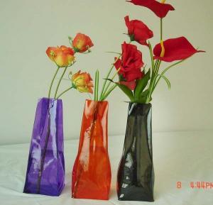 Buy cheap Folding vase , pvc folding vase,  flower vase manufactory,  measure 29*10.5*7cm product