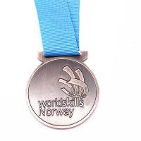 Buy cheap Logo Custom Metal Medals 60mm Antique Gold Silver Medal With Ribbons from wholesalers