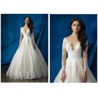 Bead Long Sleeve Ball Gown Wedding Dress , Royal White Ball Gowns With Sleeves