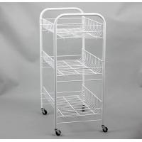 Buy cheap Basket Trolley Powder Coated Shelving , White Coated Wire Shelving With Scroll Design from wholesalers