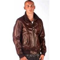 Buy cheap 50 L knitted / knitting men's bomber 100% lamb skin leather jackets personalized product