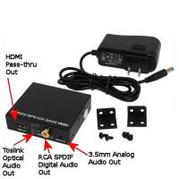 Buy cheap HDMI Pass-thru Audio Extractor with 3.5mm, Coax, Toslink Audio and HDMI OUT from wholesalers