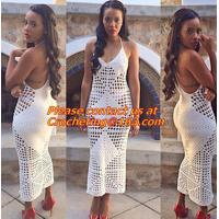Buy cheap 100% Cotton Handmade Crochet Dresses Elegant Club Wear Sexy Fashion Off Shoulder from wholesalers