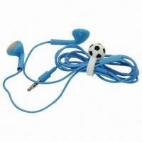 China Blue Earphones with Football Design Headset Cable Wrap Tie Cord Winder Holder on sale