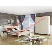 Buy cheap Mediterranean Style Apartment home use bedroom furniture by wood bed in white Beach panel and Brown rubber headboard product